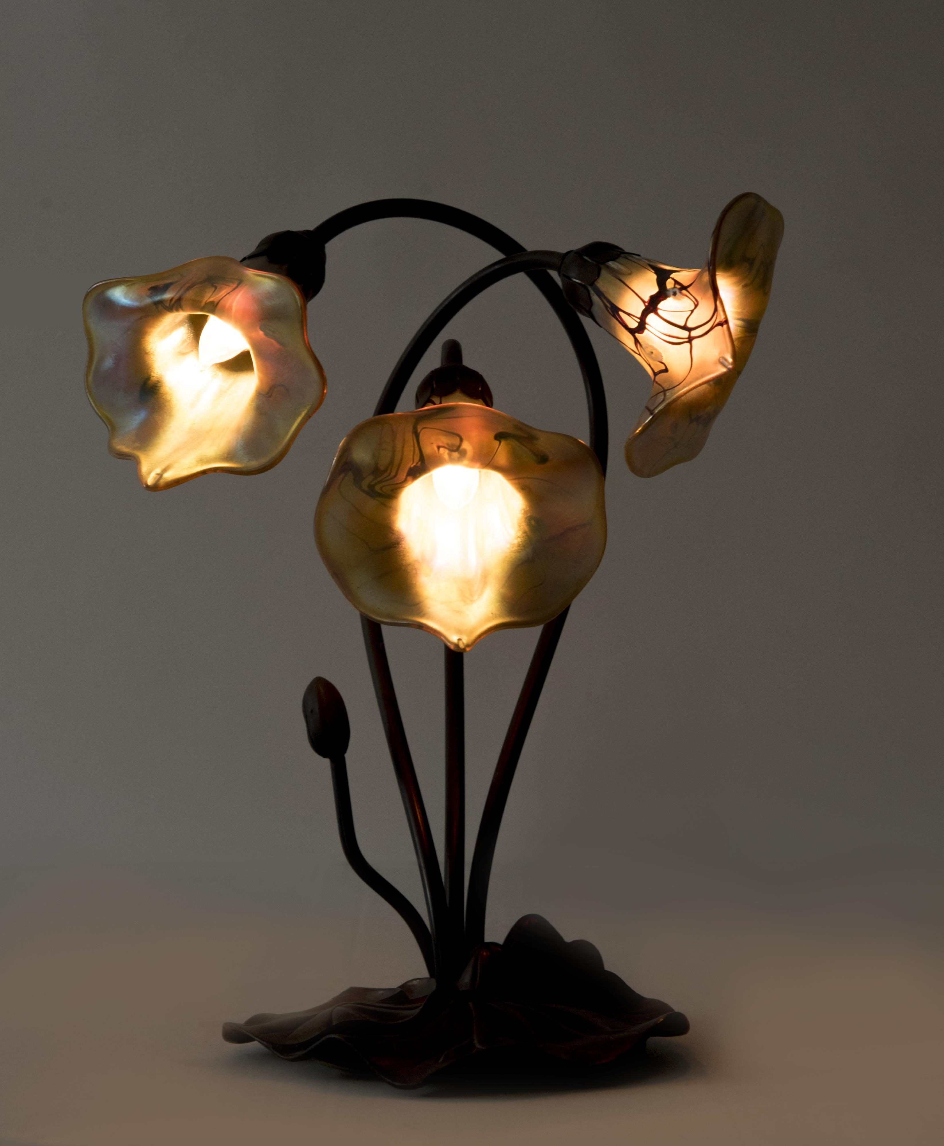 Art Nouveau Lily Pad Lamp Height: 13 1/2 inches