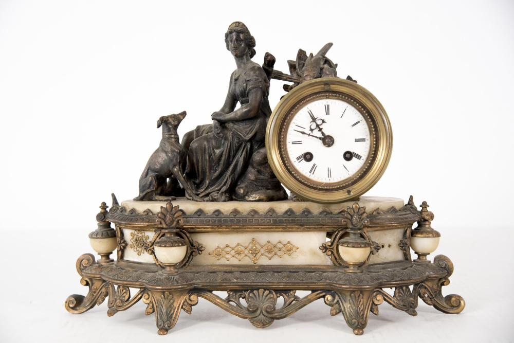 A 19th Century Gilt Metal and Marble Mantel Clock, Diana the Huntress