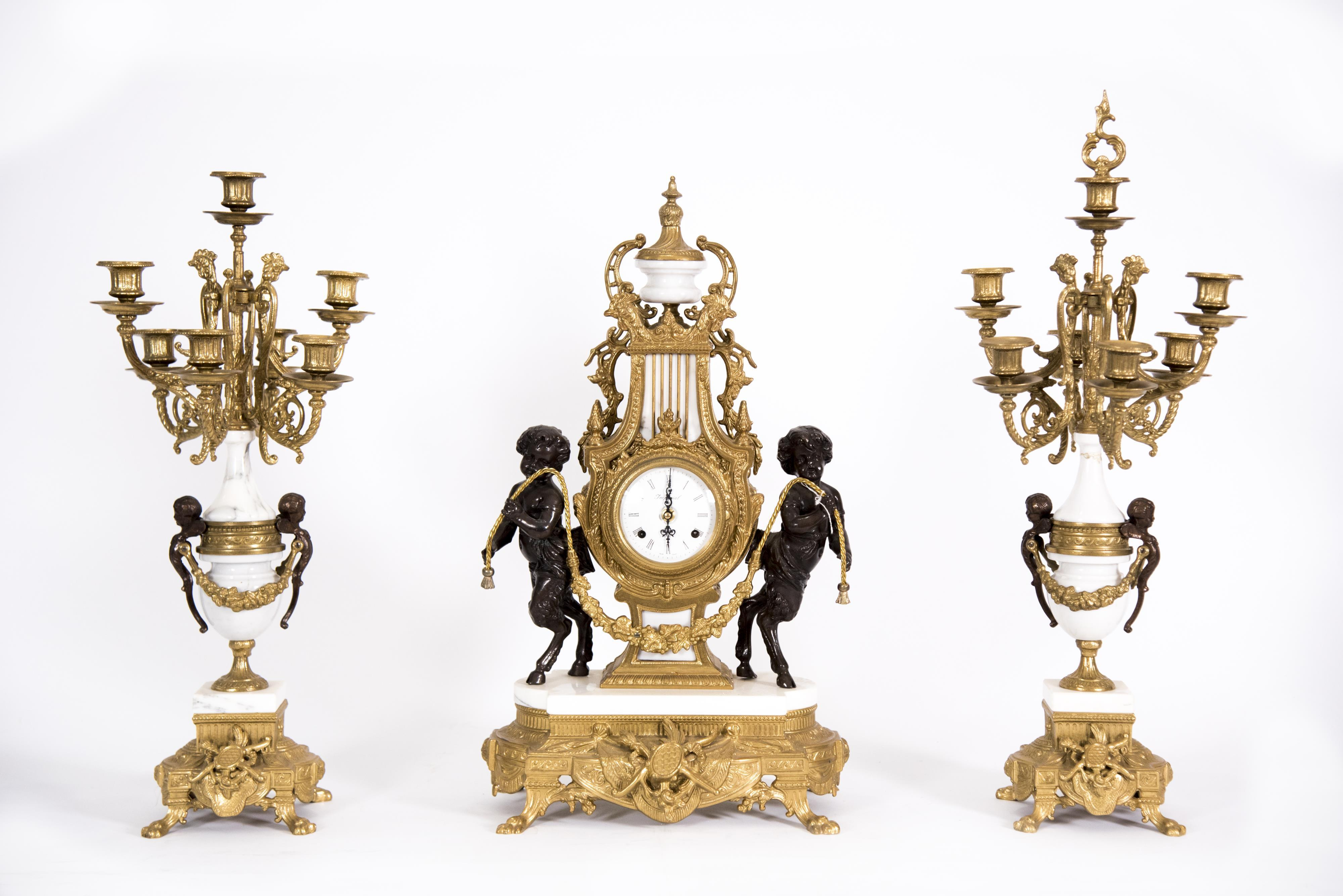 Large Brass and Bronze Clock Garniture set with Candelabra 24 inches in height