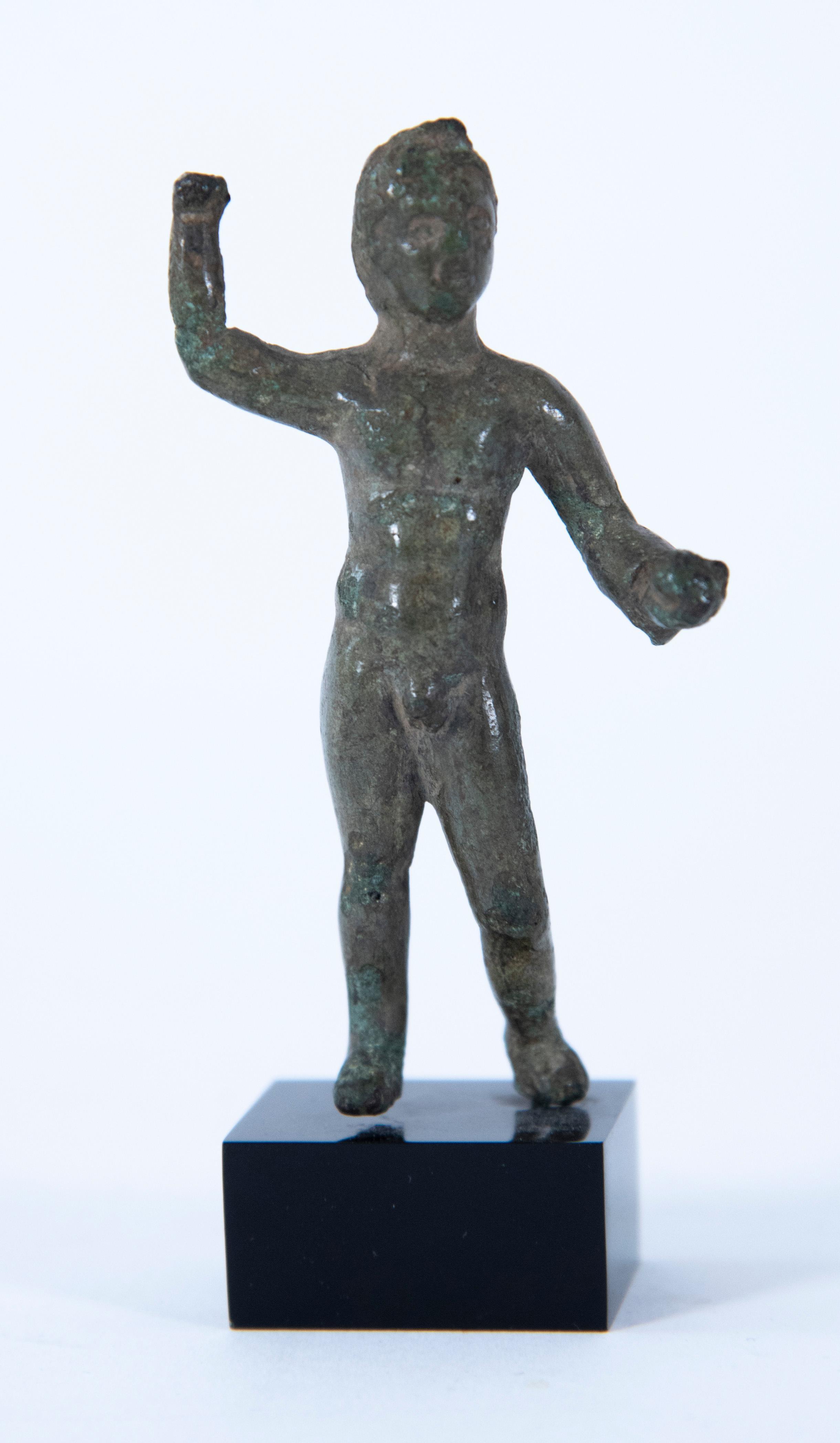 An Etruscan Bronze Hercle, Circa 3rd Century B.C. 3 1/16 inches