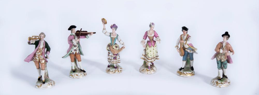 Set of 6 Continental 19th Century Porcelain Musical Figurines