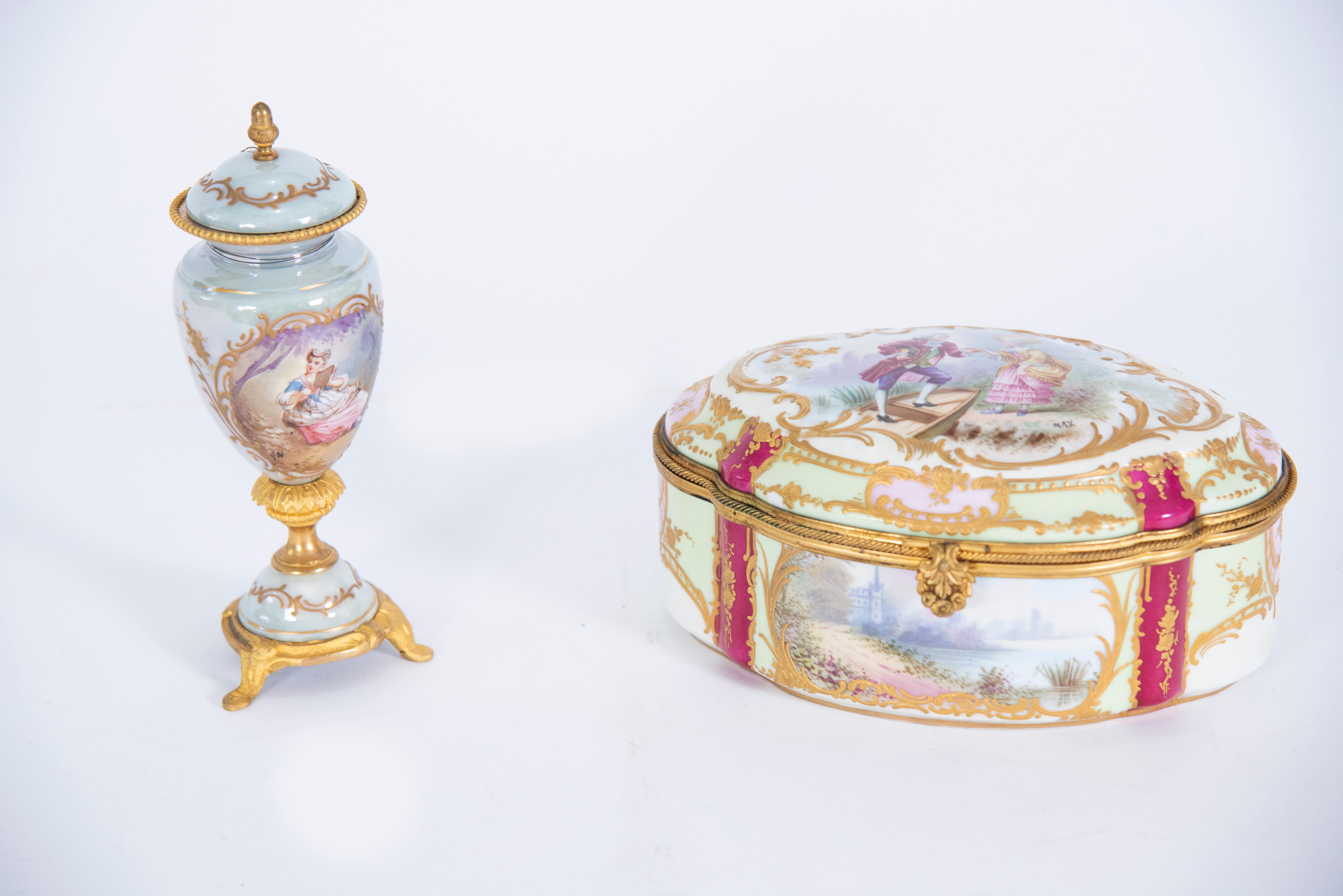 2 Continental Porcelain Pieces, French Box and Miniature Urn