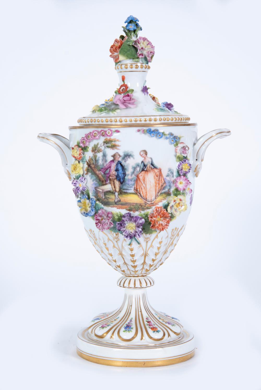 19th Century Dresden Porcelain Urn