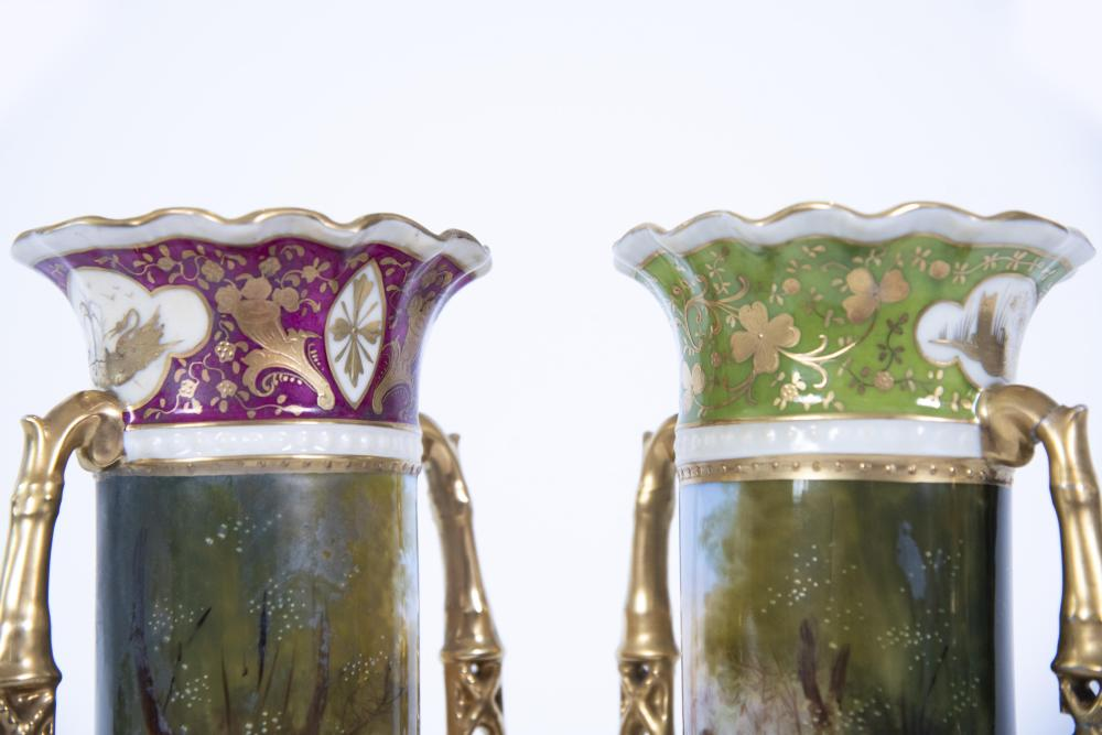 Pair of Vienna Austria Handled Porcelain Vases