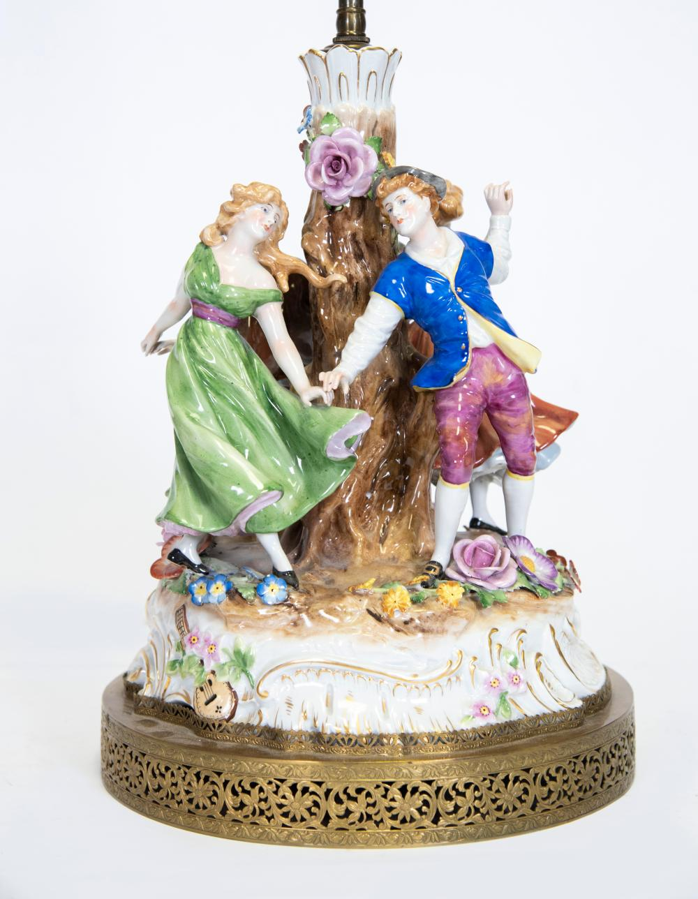 A Continental Porcelain Table Lamp, Probably Dresden