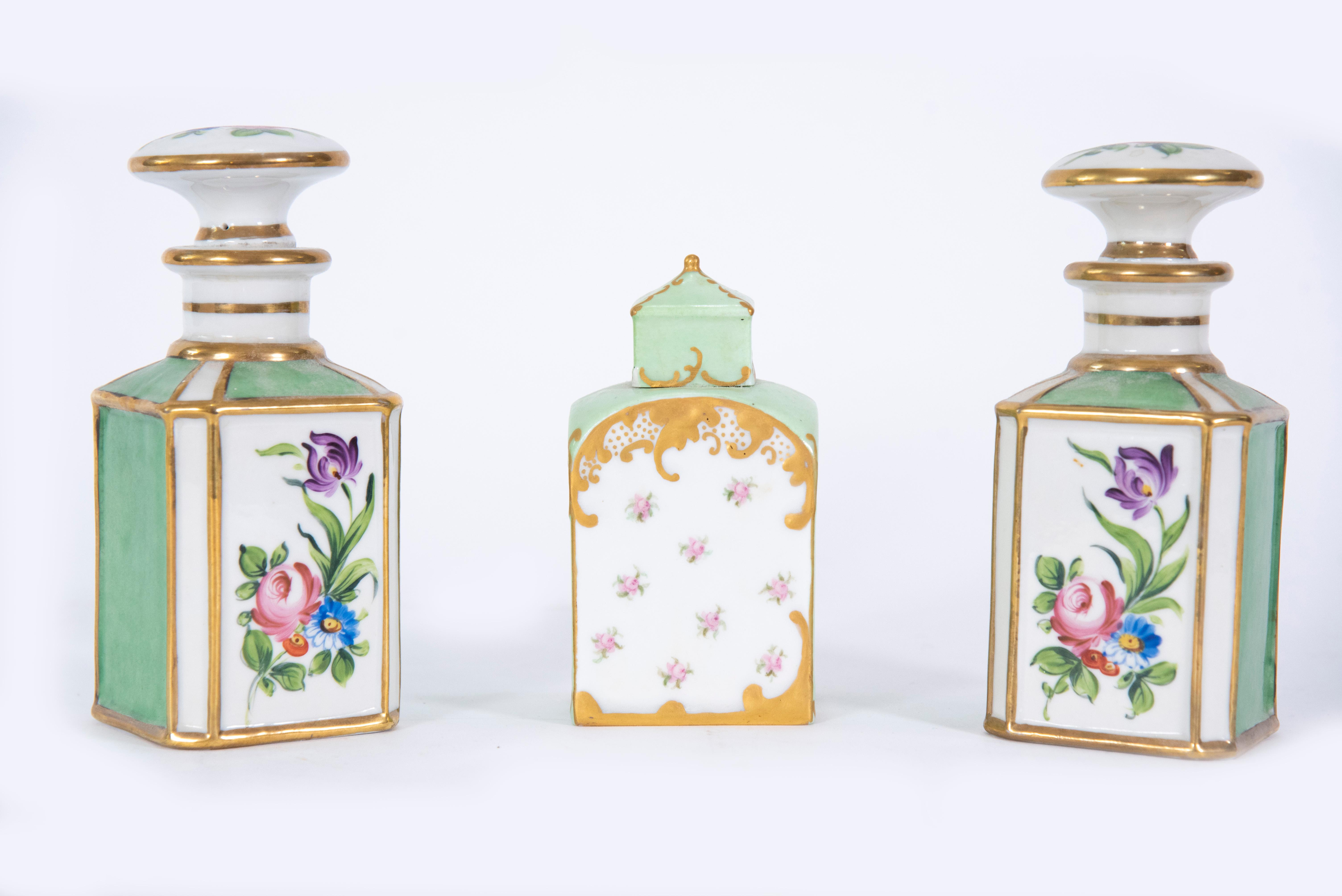 Pair of French Porcelain Scent Bottles, with a Porcelain Tea Caddy