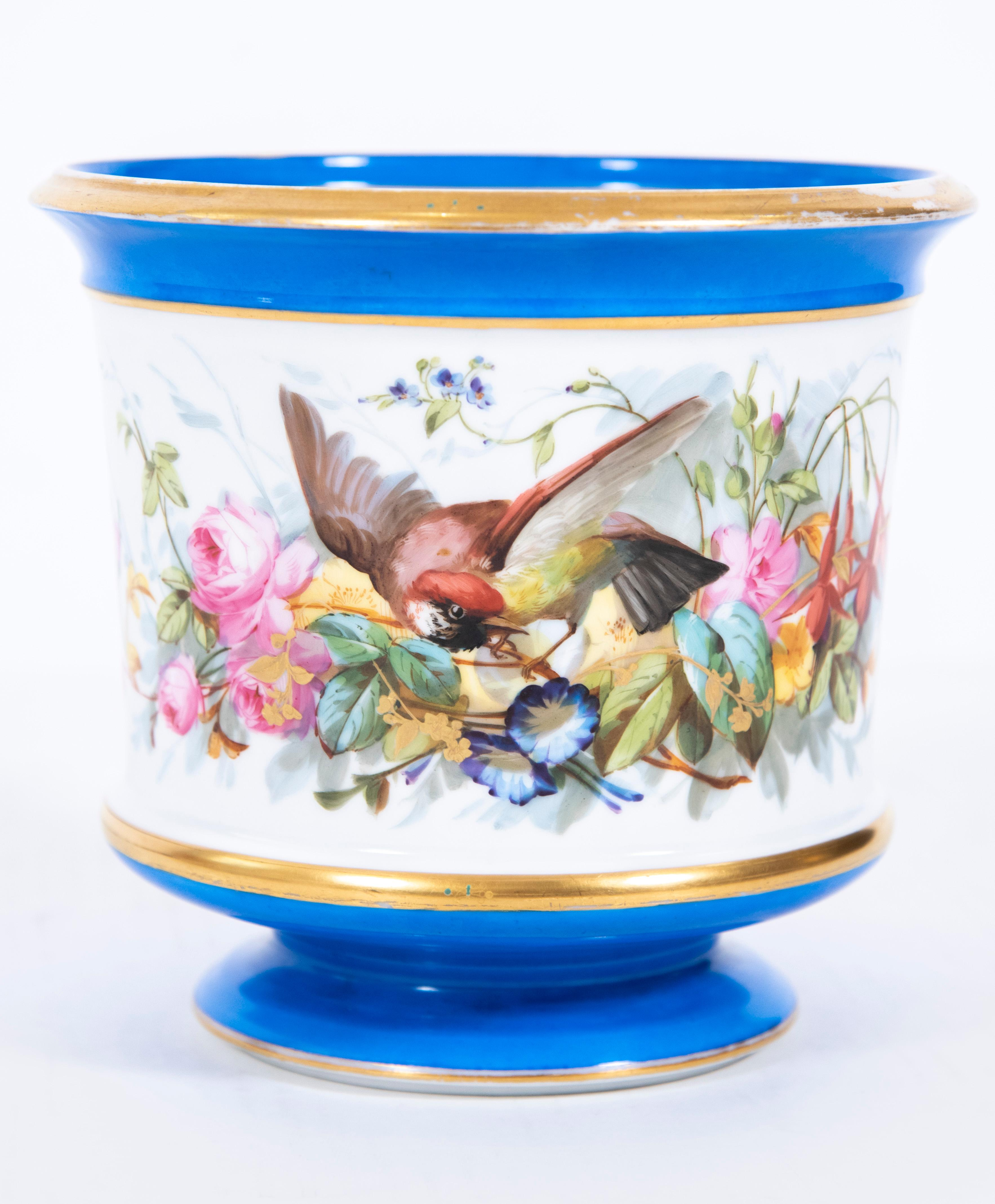 French Old Paris Porcelain Jardiniere Height: 7 3/4 inches; Diameter: 8 1/4 inches