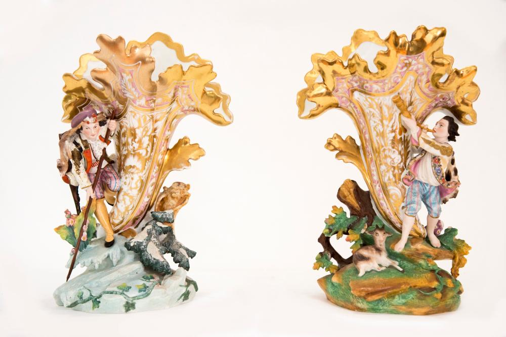 Unusual Pair of Porcelain Old Paris Vases with Figural Details 14 inches in height