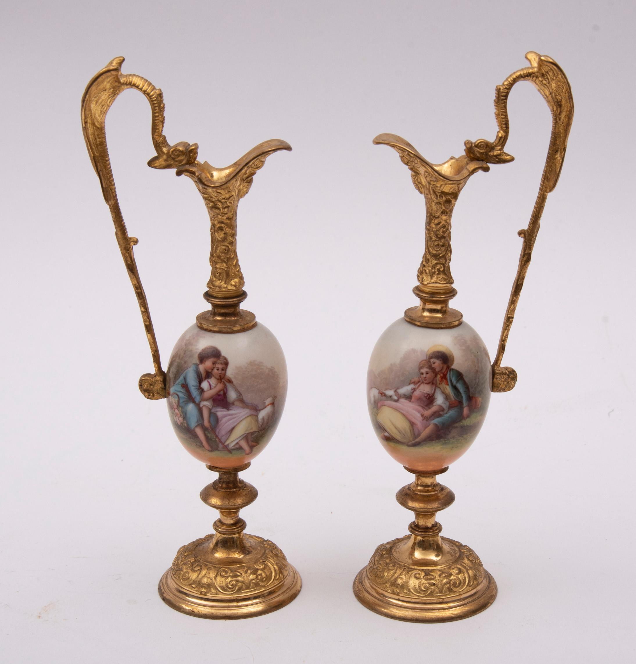 """Pair of Continental Porcelain Mounted Gilt Metal Ewers 8.25"""" to tip of dragon wing"""
