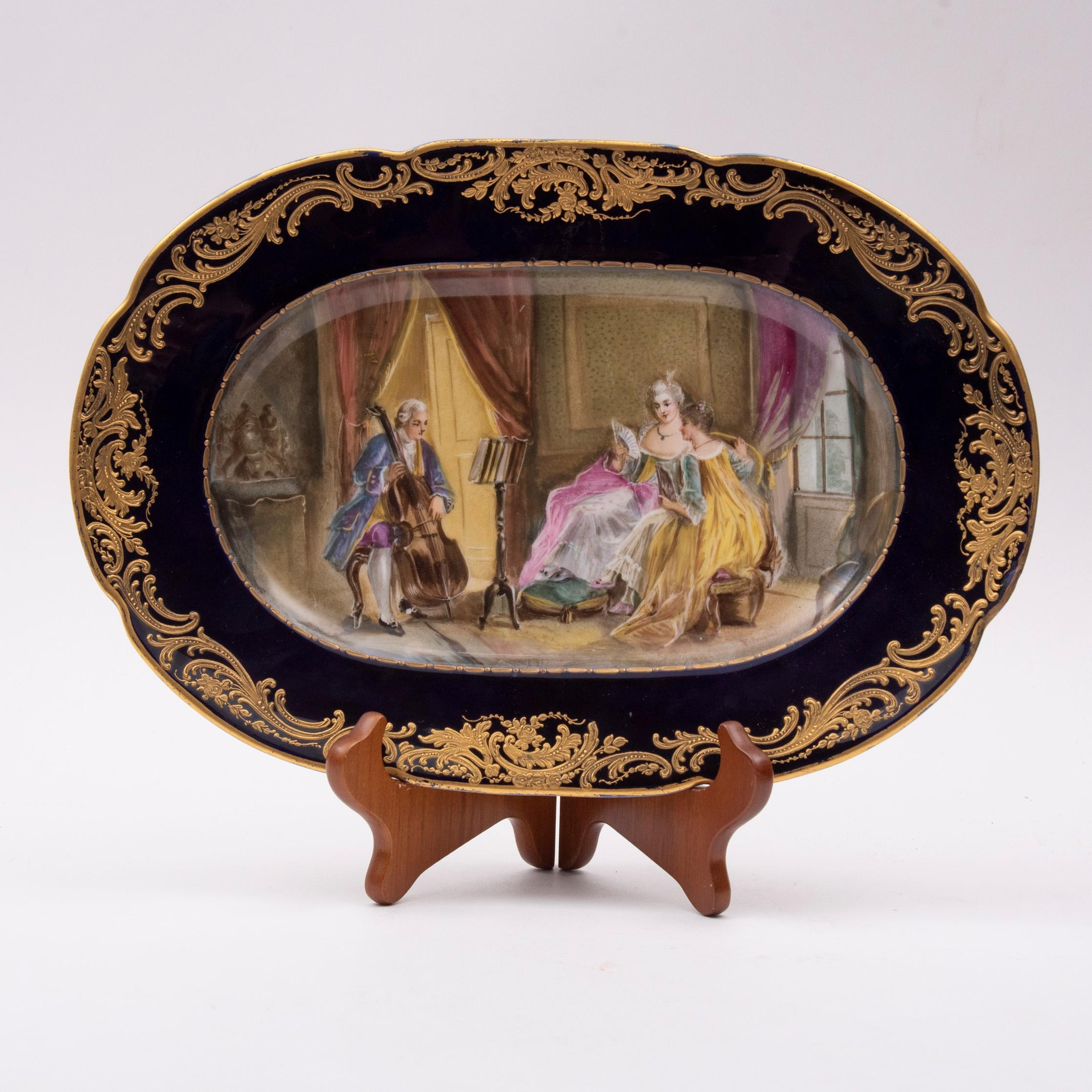 """Sevres Style Painted and Gilt Platter 14"""" wide"""