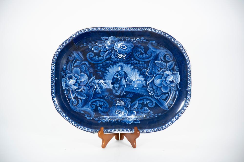 Historical Blue Staffordshire Platter, Peace and Plenty, by Clews