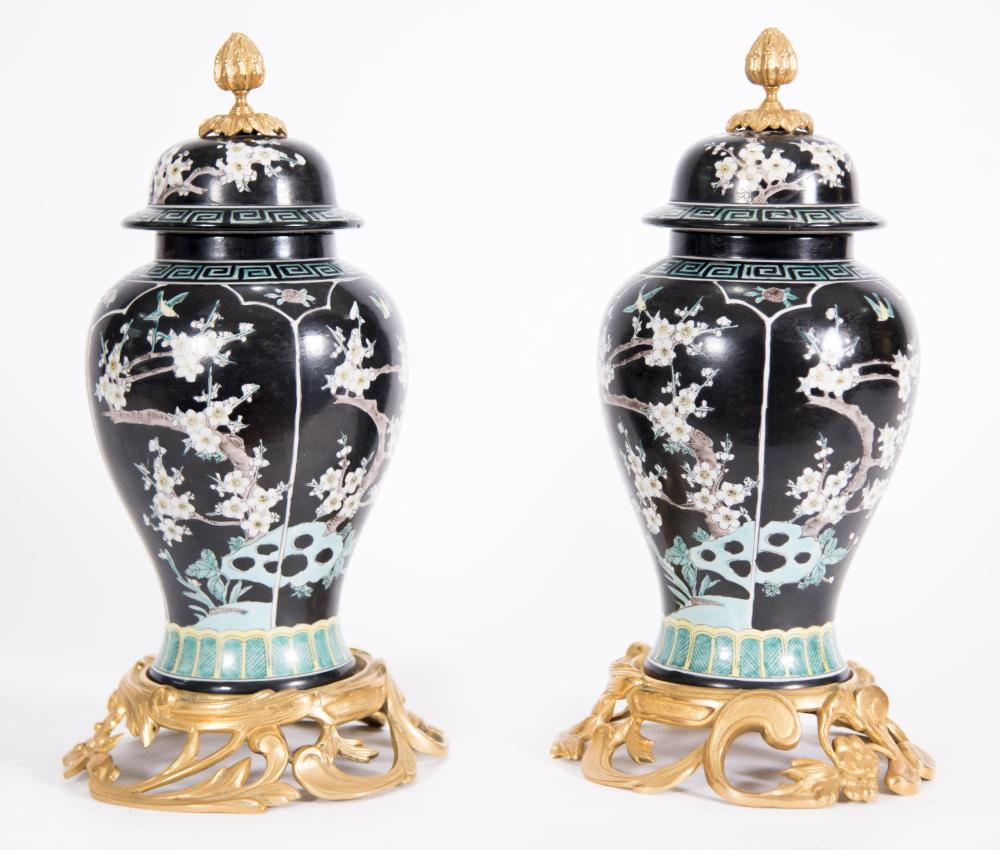 Pair of Bronze Mounted Chinese Porcelain Ginger Jars
