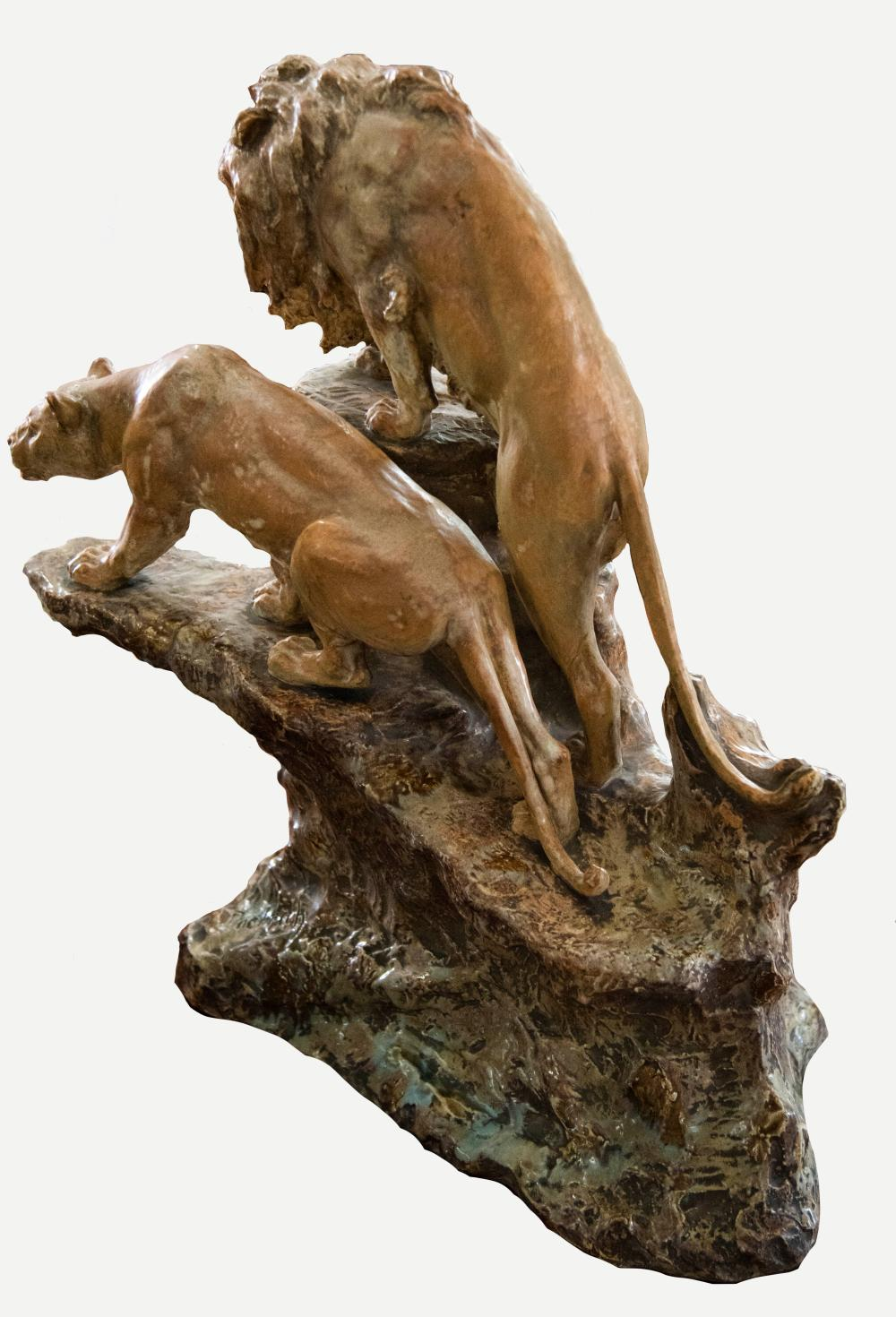 Large and Impressive Vienna Pottery Figural Group, Lion and Lioness