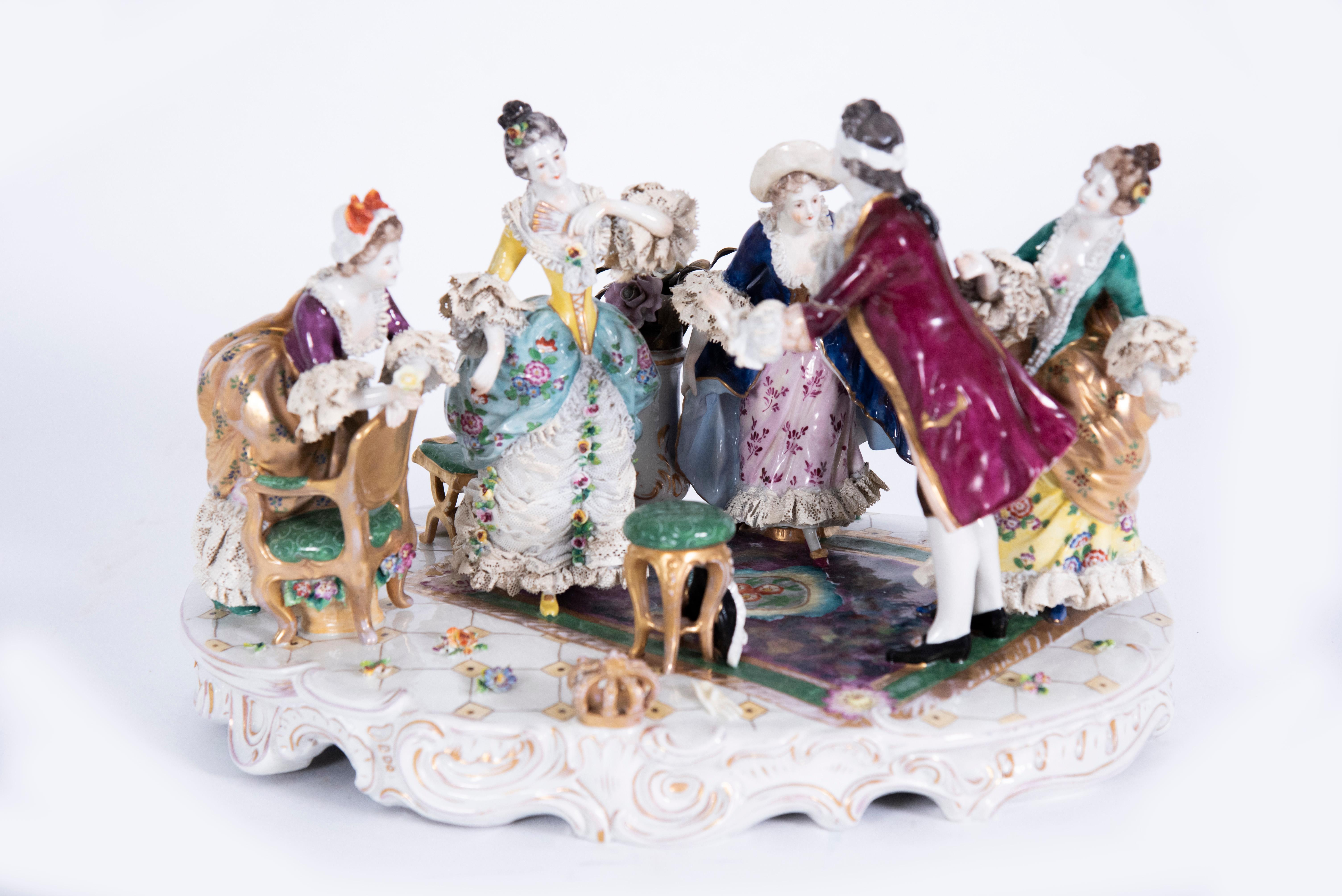 A Large Rudolstadt Porcelain Figural Group, Blind Man's Bluff