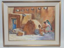 Tom Hill, Arizona (1925-), Baking Bread Taos Pueblo, watercolor on paper, 29 1/2 x 22 inches