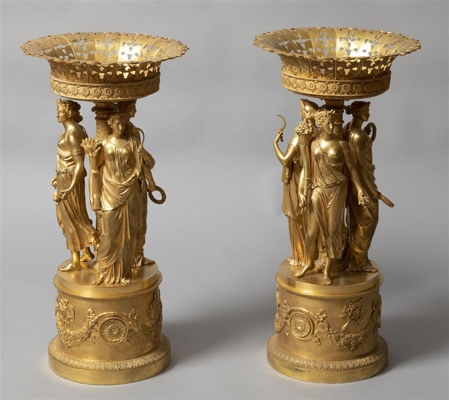 A Pair of Exceptional French 19th century Bronze Dore Figural Tazza