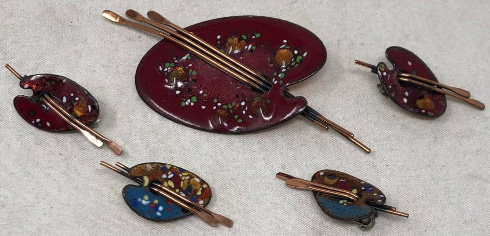 "Vintage ""Matisse"" enamel and copper jewelry: large red pinter's palette brooch, pair red painters' palette clip on earrings; pair green and gold painter's palette clip on earrings."