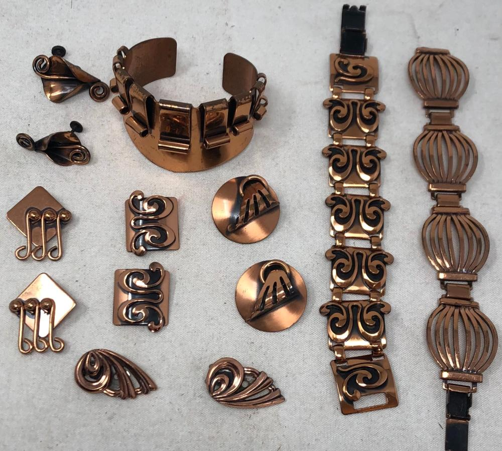 "Vintage ""Renoir"" copper jewelry: bracelet and matching ear clips, cuff bracelet, link bracelet, four pairs ear clips."