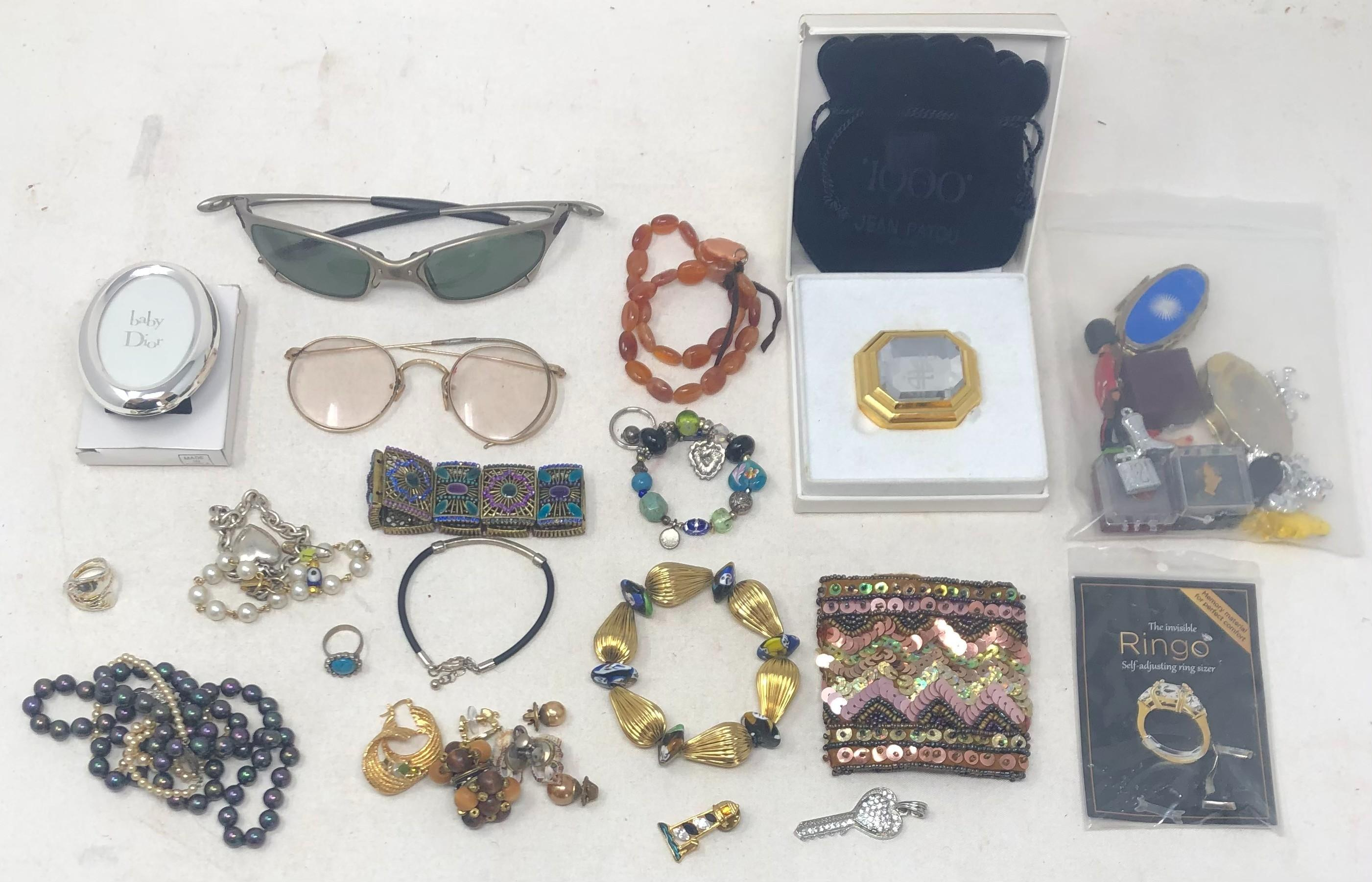 Jean Patou parfum solide case (with bag, original box), Baby Dion oval frame, two pairs glasses, one collapsible sun, other antique wire (frame broken); black pearlescent necklace, 24 inches; vintage faux childs pearl...