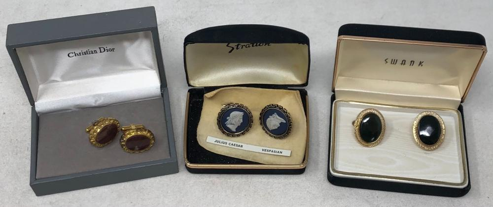 Three sets of men's Vintage cufflinks: Wedgwood by Stratton with busts of Vespasian and Julius Caesar in blue and white jasperware in original box; Christian Dior red agate and gold tone in original box; Swank dark gr...