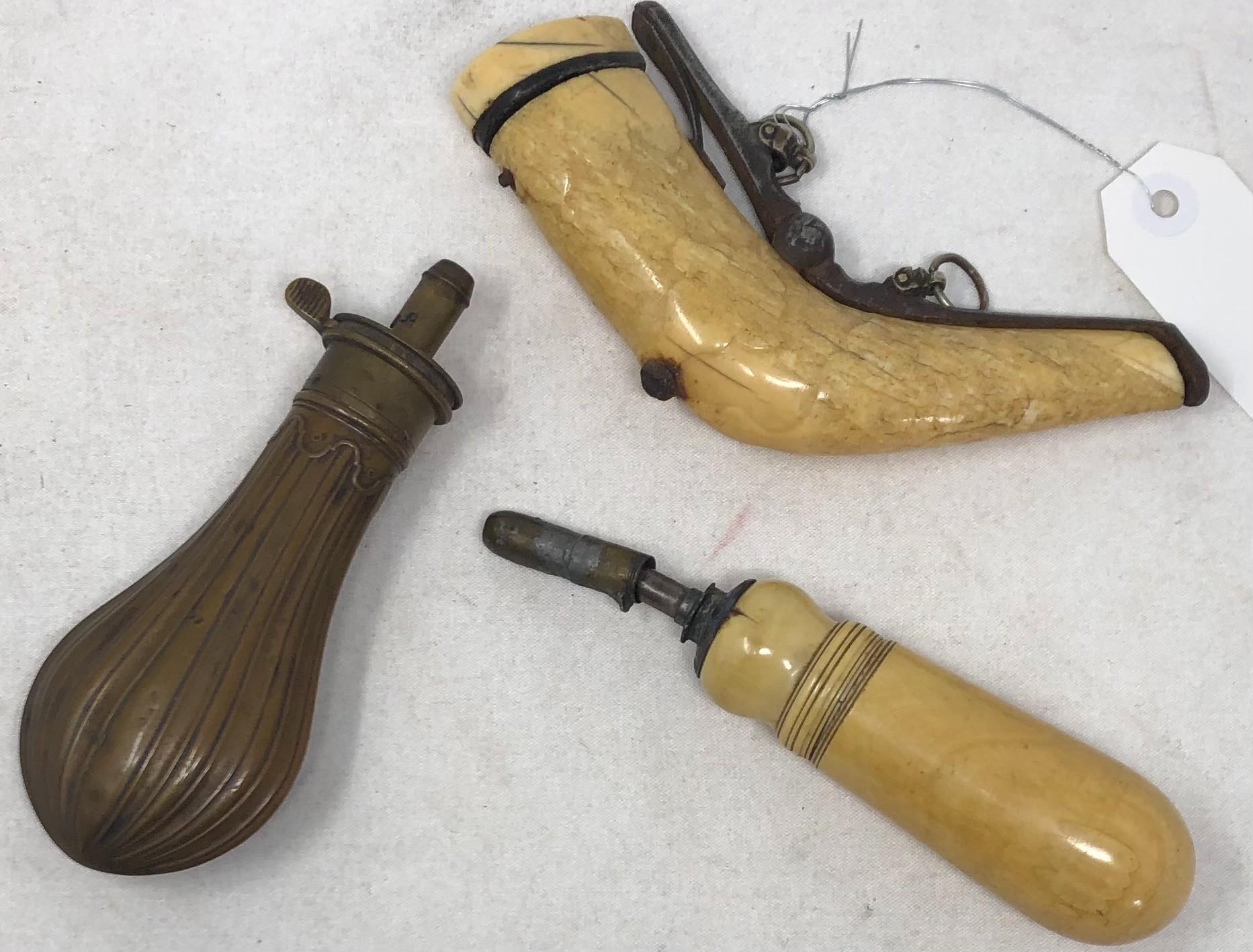 Three Antique Powder Flasks, two bone and one brass.