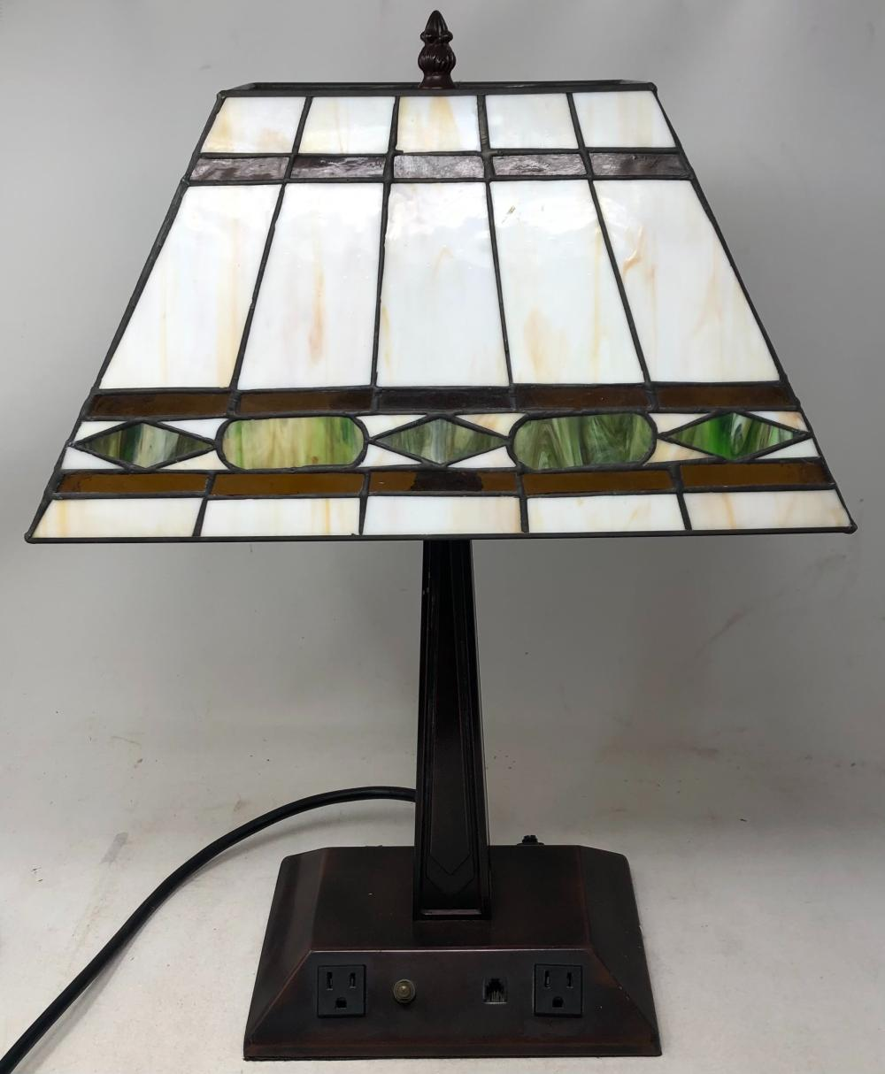 Desk lamp with slag glass shade.