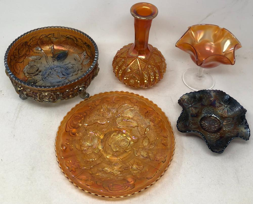 Assortment of five carnival glass style pieces.