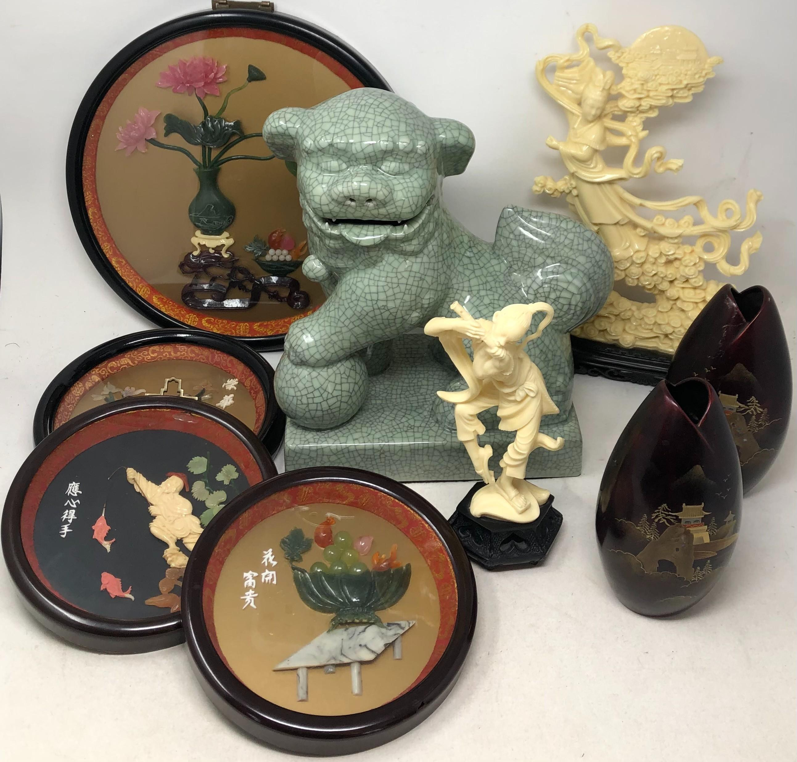 Collection of decorative Asian items including a pair of vases, four framed shadowbox pieces, a foo dog with a crackled glazed style finish, and two composition statues.