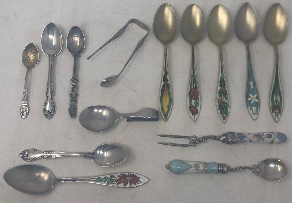 Collection of antique decorated sterling spoons: Six sterling silver teaspoons with enamel decoration on handle; two Gorham sterling silver child's spoons; one sterling curved handle spoon; two sterling salt spoons; o...