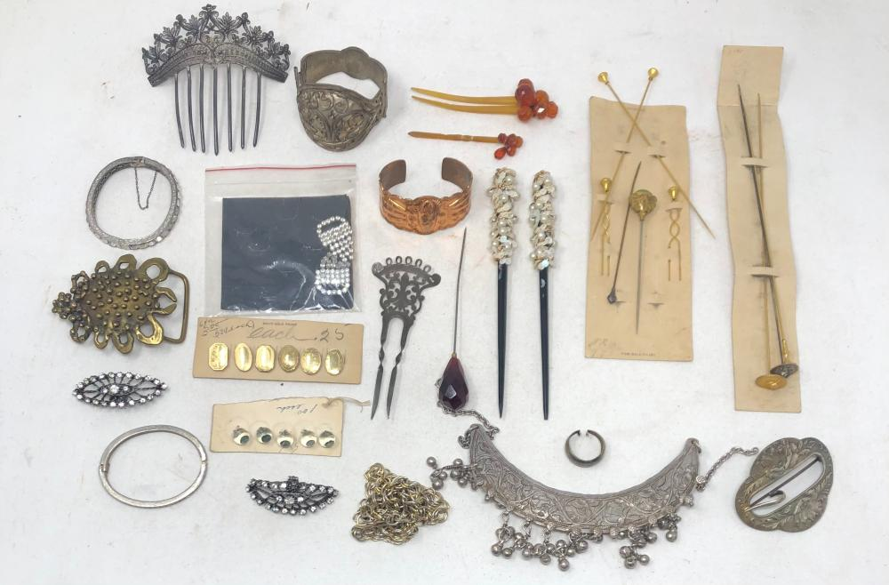 Vintage ornate collection of jewelry primarily Middle Eastern Style, hair combs and buttons comprising two belt buckles, Middle eastern style choker necklace with dangling beads, a reticulated large metal hair comb, t...