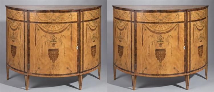 Pair Antique French Demi-Lune Satinwood Cabinets