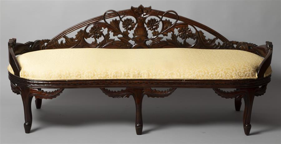 Early 20th Century Crescent Backed Settee