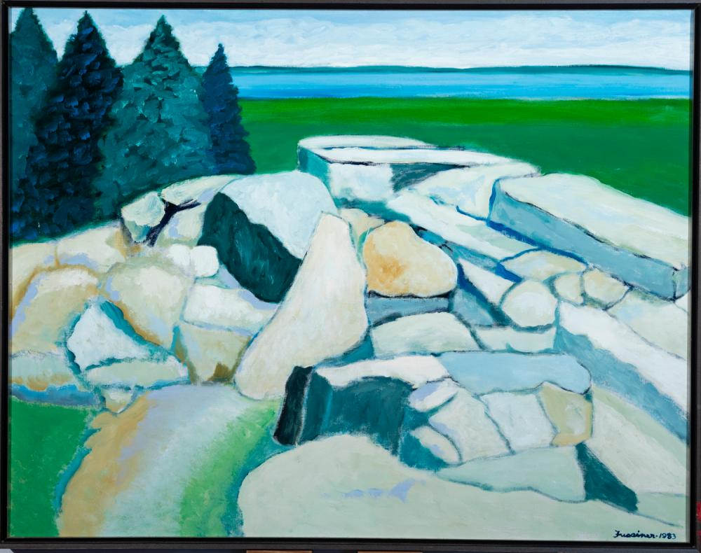 Howard Fussiner, Connecticut (1923-2006), View From the Quarry, 1983, oil on canvas, 28 x 36 inches