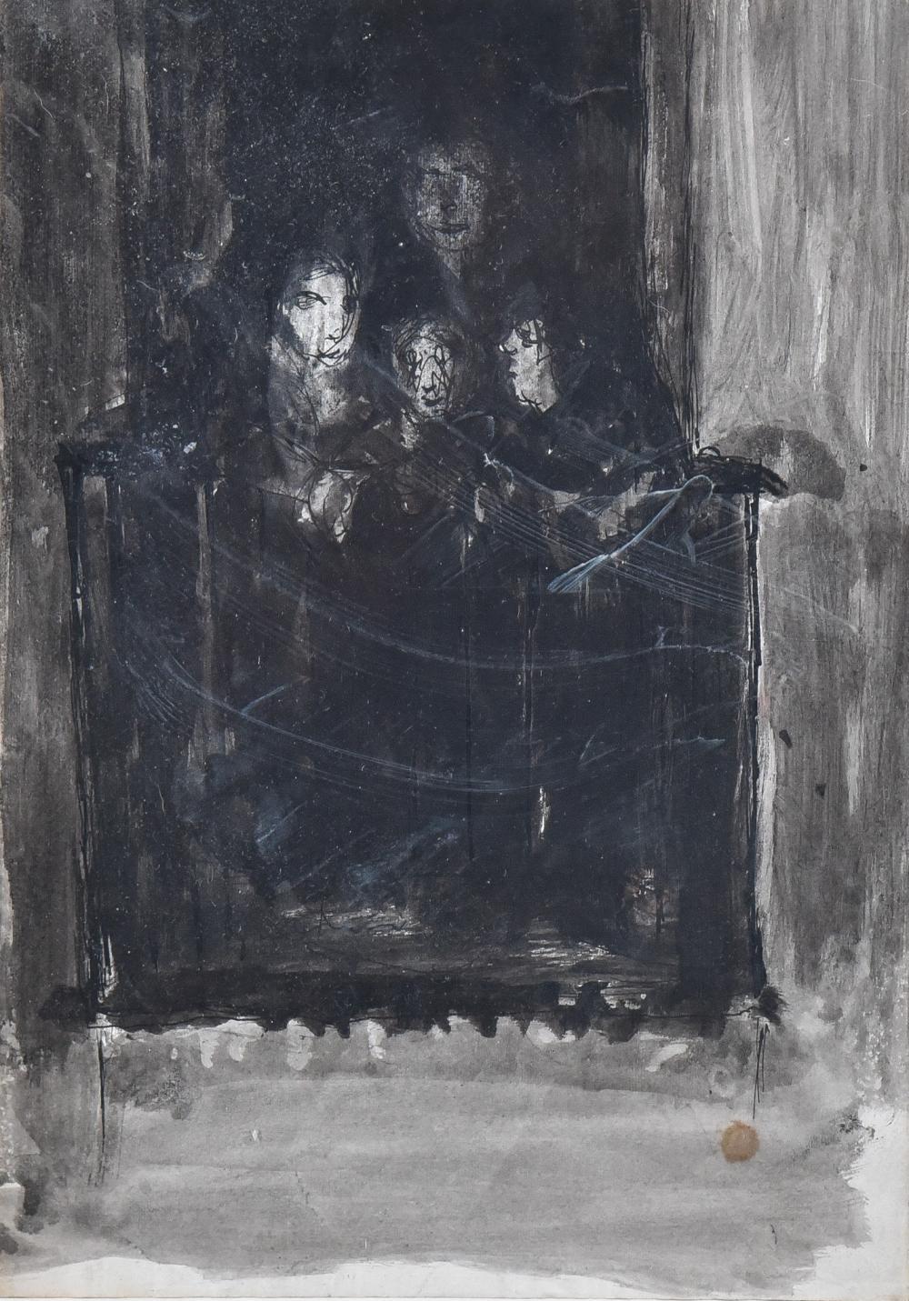 Marjorie Organ Henri, New York/Ireland (1886-1931), Figures in a Doorway, ink on paper, 12 3/8 x 8 3/4 inches