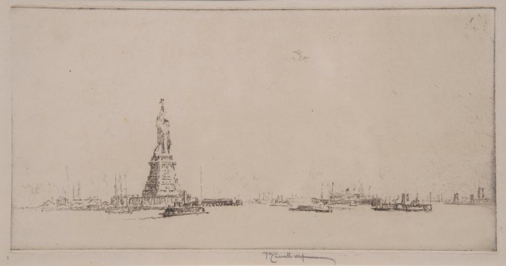 Joseph Pennell, American (1857-1926), The Statue From Ellis Island, etching with drypoint, 4 7/8 x 9 3/4 inches