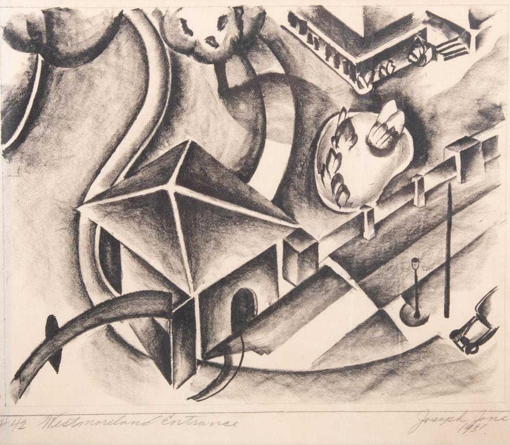 Joe (Joseph John) Jones, Missouri, New York, New Jersey (1909-1963), Westmoreland Entrance, #42, 1931, lithograph, 13 x 14 3/4 inches (sight)