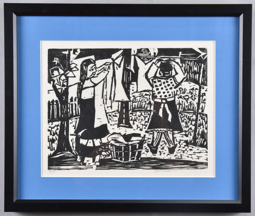 Werner Drewes, American (1899-1985), Laundry Day, woodcut, ed. A.P., 9 x 12 inches