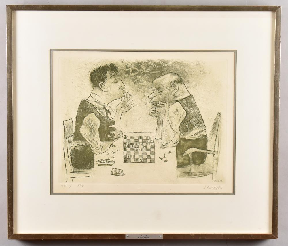 William Gropper, American (1897-1977), Check (Sorini - 56), 1965, etching, sandpaper and roulette work, ed. 76/100, 11 1/2 x 15 1/2 inches