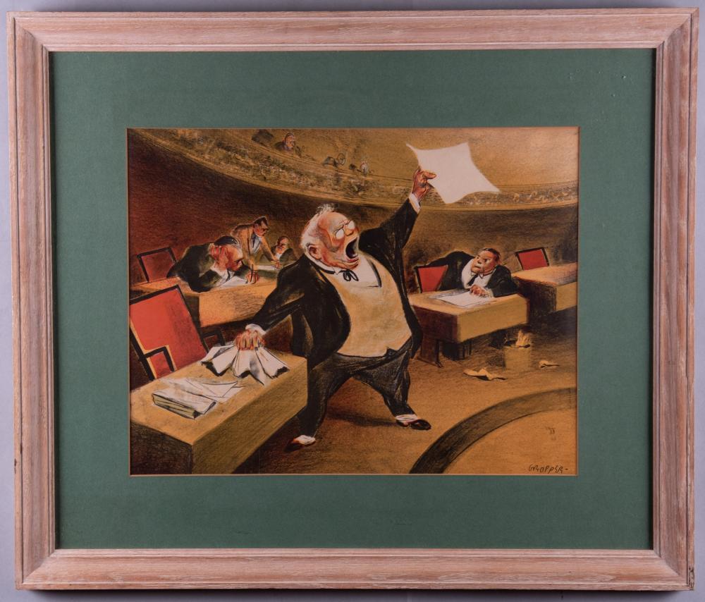 William Gropper, The Senate, color lithograph