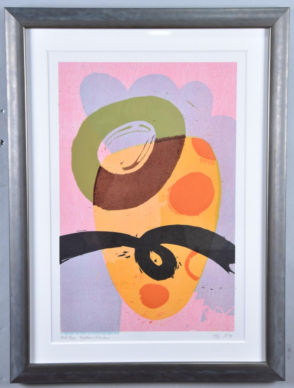 Charles Hewitt, New York (b. 1946), Yellow Maku, 2010, color woodcut, a.p. ed. 4/12, 20 x 13 inches