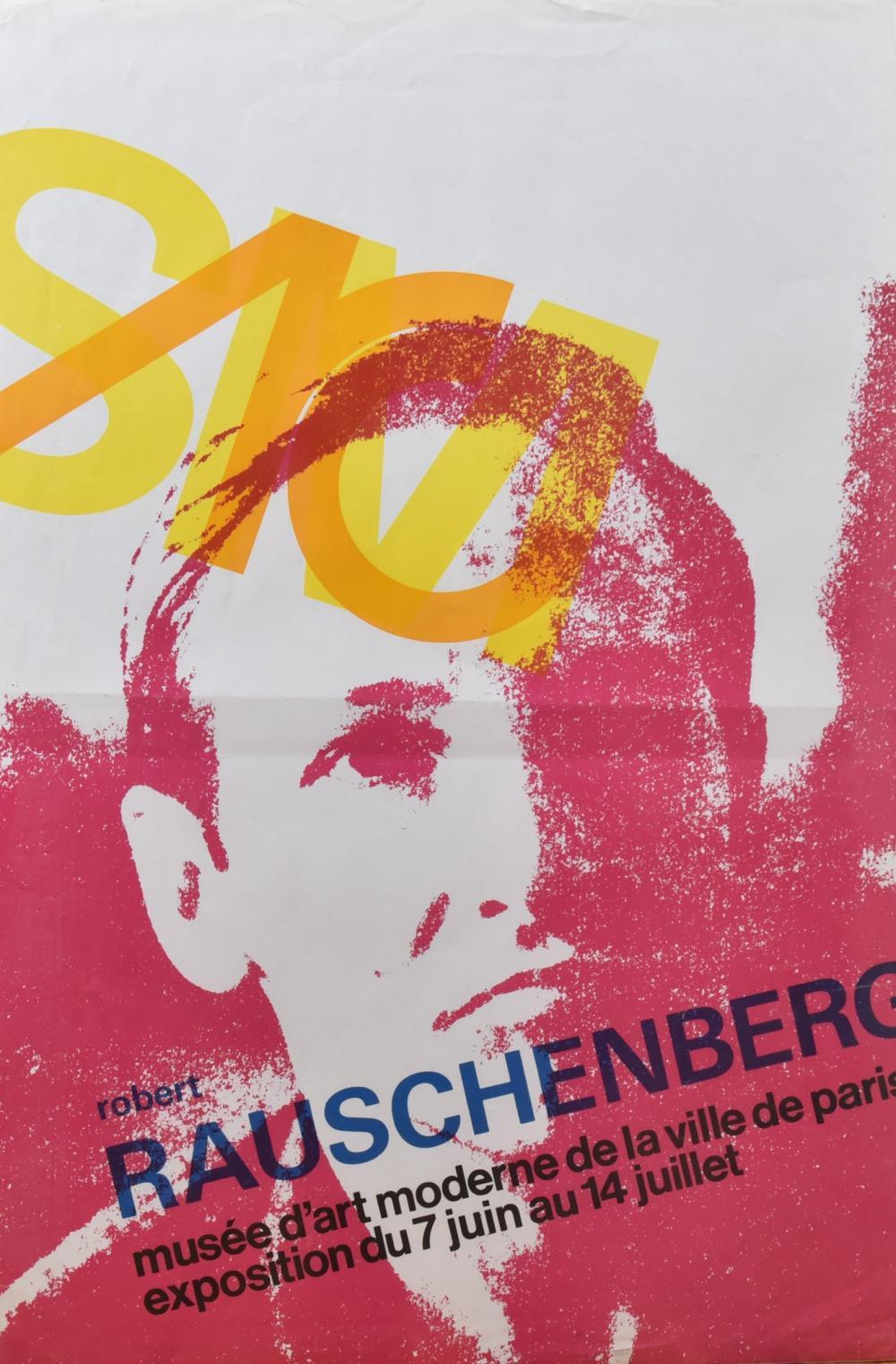 Robert Rauschenberg, American (1925-2008), Musee d'Art Moderne de la Ville de Paris, exposition du 7 juin au 14 juillet, offset lithograph, 37 1/2 x 25 1/4 inches
