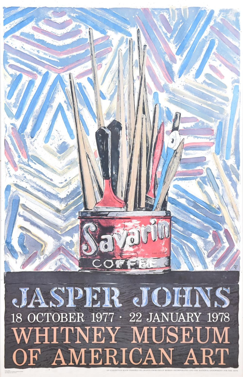 """Jasper Johns, American (b. 1930), """"Savarin"""" Whitney Museum of American Art Exhibition Poster, offset lithograph, 45 1/2 x 29 1/2 inches"""