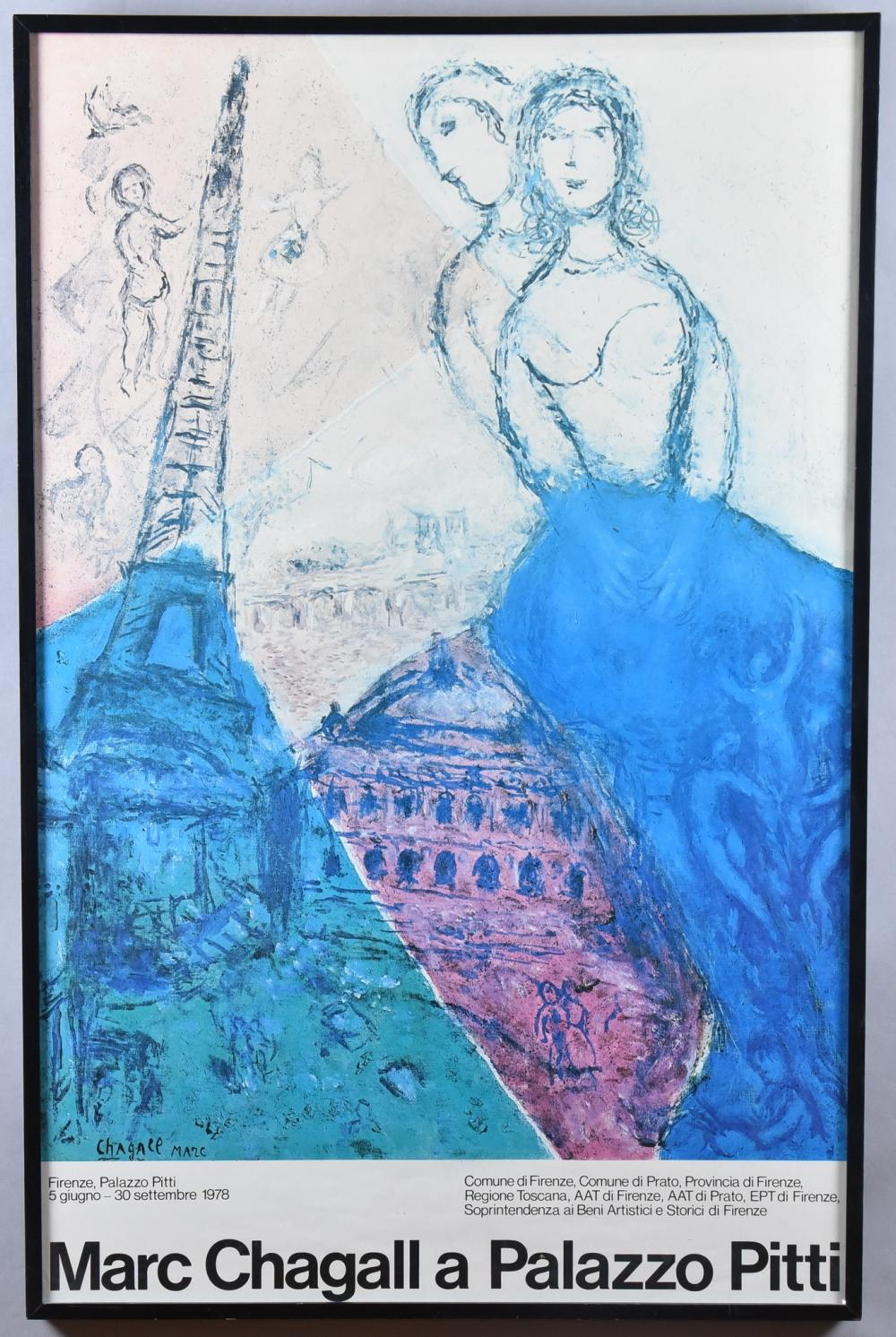 Marc Chagall, New York / France, Russian Federation (1887-1985), Marc Chagall a Palazzo Pitti, offset color lithograph, 39 x 25 inches