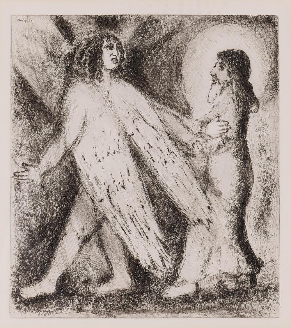 Marc Chagall, Russian Federation/France/New York (1887 - 1985), From The Bible: Man is Guided by the Angel of God, etching on paper, 11 x 9 1/2 inches