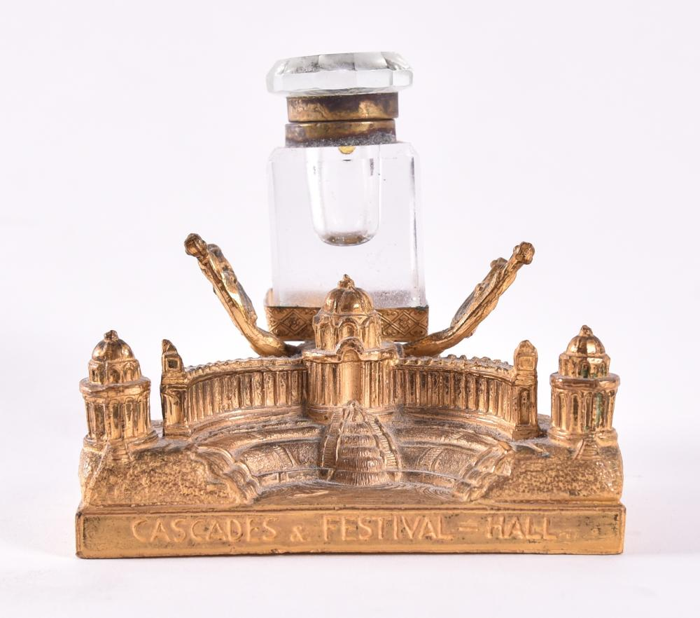 1904 World's Fair Three Dimensional Metal Cascades Building Inkwell Souvenir Height 4 3/4 inches, width 4 1/2 inches.