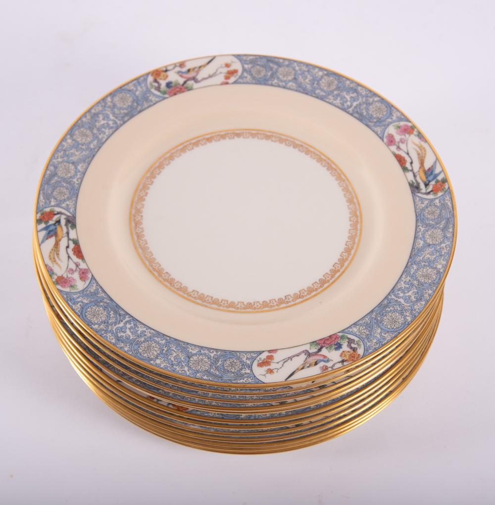Twelve Lenox Dinner Plates, Ming-Bird Style Border Diameter 10 inches