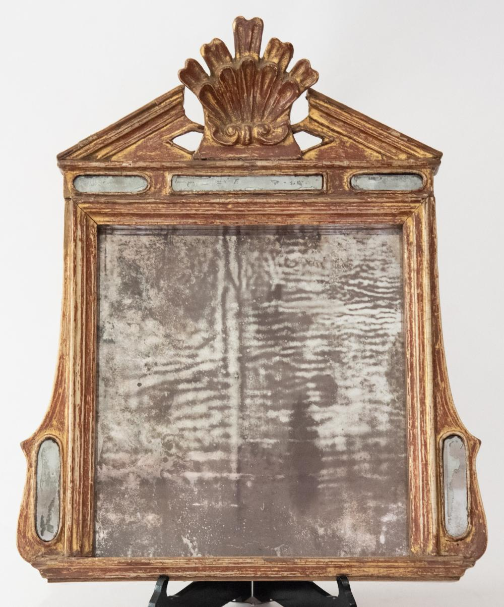 """An Antique Italian Carved Wood Wall Mirror, Circa Late 18th/Early 19th Century 22.5"""" wide, 28"""" tall"""