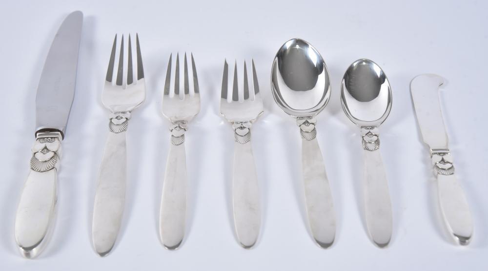 Cactus Sterling Silver Flatware Service for 12, G. Albertus for Georg Jensen