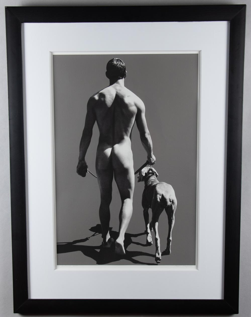 Marcel Morguecilo, 20th / 21st Century, Male Nude and Dog, gelatin silver print, 24 x 16 inches