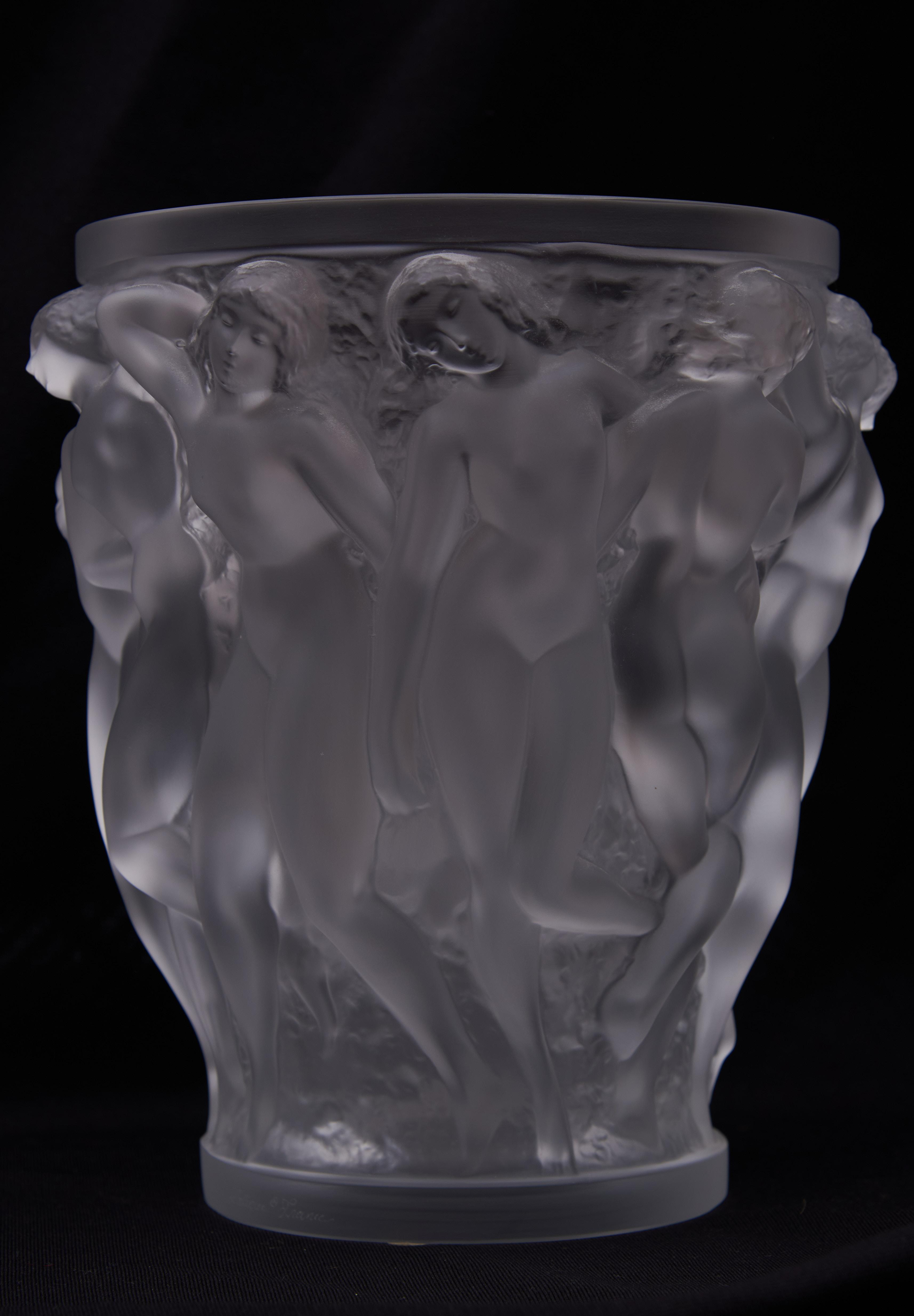"""Large Lalique Bacchantes Vase 9.5"""" tall, diameter of top 7.5 inches"""